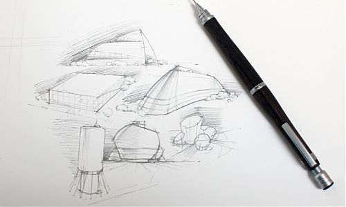 Pilot S20 mechanical pencil architecture sketches
