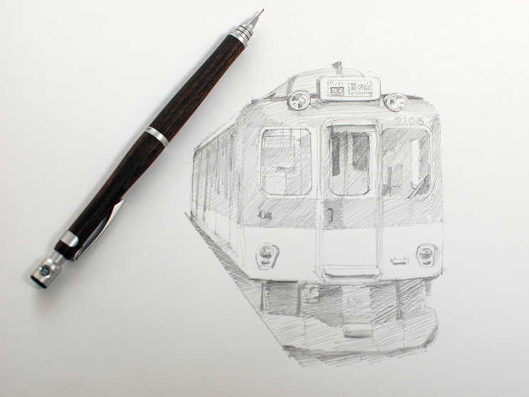 Pilot s20 mechanical pencil japanese train sketch