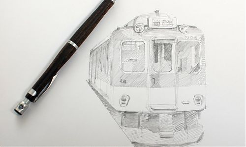 Pilot S20 mechanical pencil Japanese train sketch