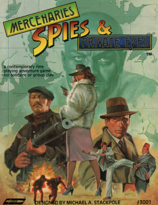 cover of Mercenaries, Spies, & Private Eyes book, showing pulp action espionage and adventure characters with map, cool weapons, and explosion