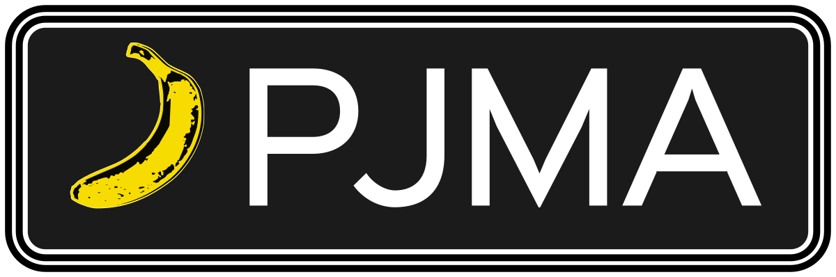 PJMA Personal Justice Martial Art Logo, a banana next to the letters PJMA